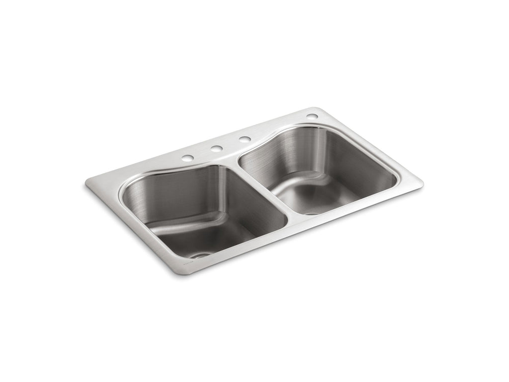 Kitchen Sink | Staccato 33 x 22 Dbl-Equal SS Sink, 4-Hole | Not Applicable | GROF USA