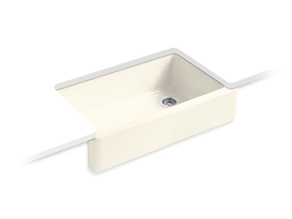 Kitchen Sink | Whitehaven(R) Self-Trimming(R) Apron Front Single Basin Sink with Tall Apron | Biscuit | GROF USA