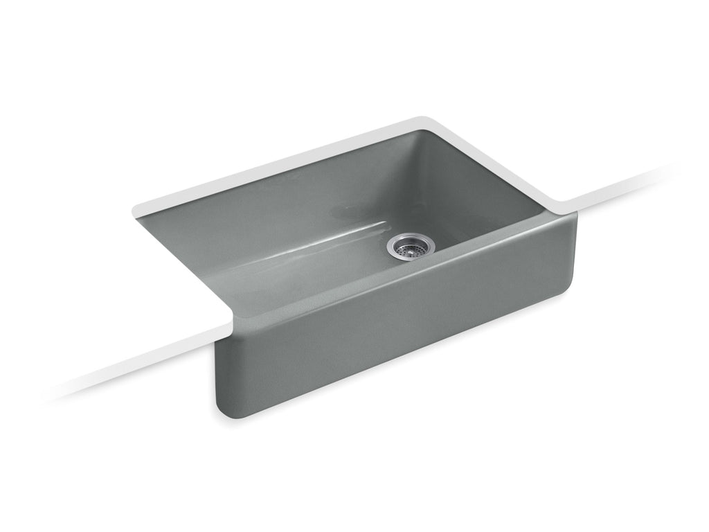 Kitchen Sink | Whitehaven(R) Self-Trimming(R) Apron Front Single Basin Sink with Tall Apron | Basalt | GROF USA