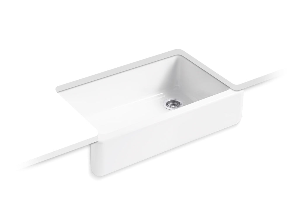 Kitchen Sink | Whitehaven(R) Self-Trimming(R) Apron Front Single Basin Sink with Tall Apron | White | GROF USA