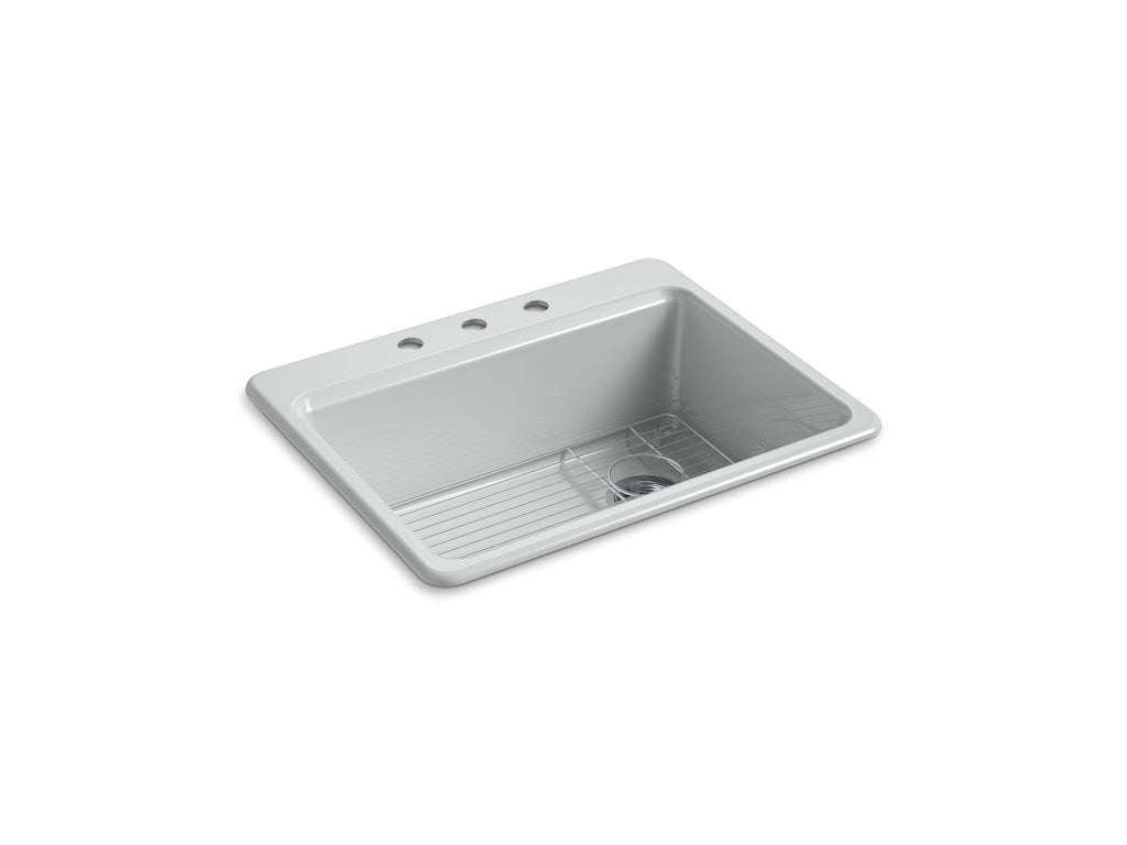 "Kitchen Sink | Riverby 27"" x 22"" x 9-5/8"" top-mount single-bowl kitchen sink with bottom sink rack and 3 faucet holes 