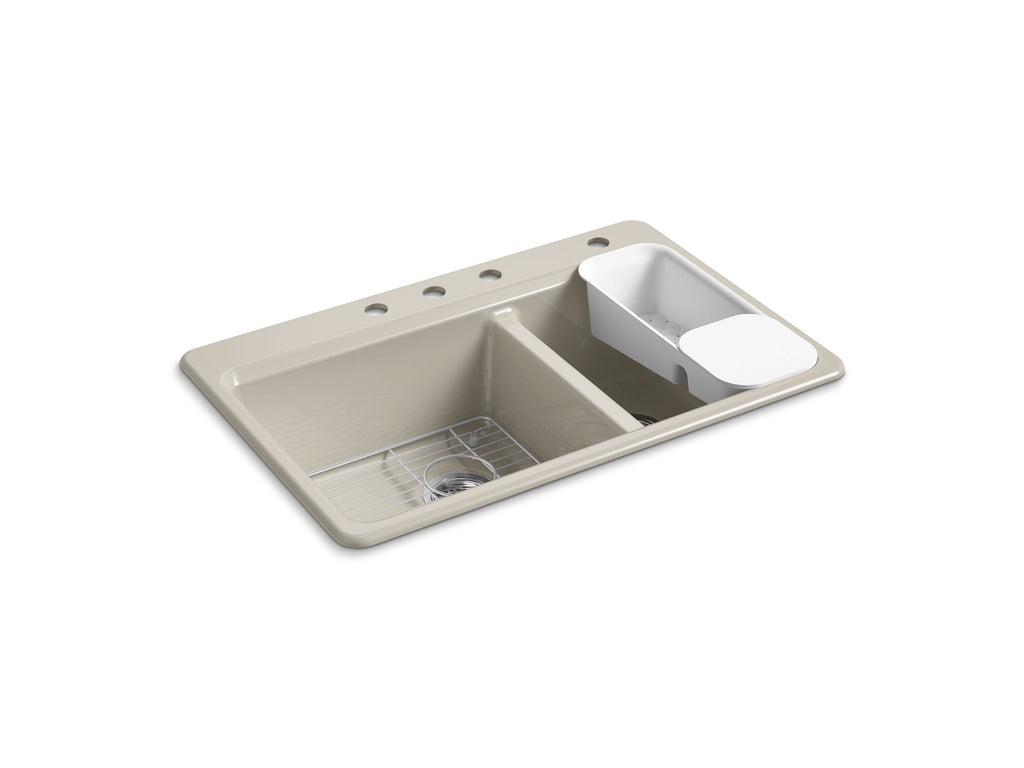"Kitchen Sink | Riverby 33"" x 22"" x 9-5/8"" top-mount large/medium double-bowl kitchen sink with accessories and 4 faucet holes 