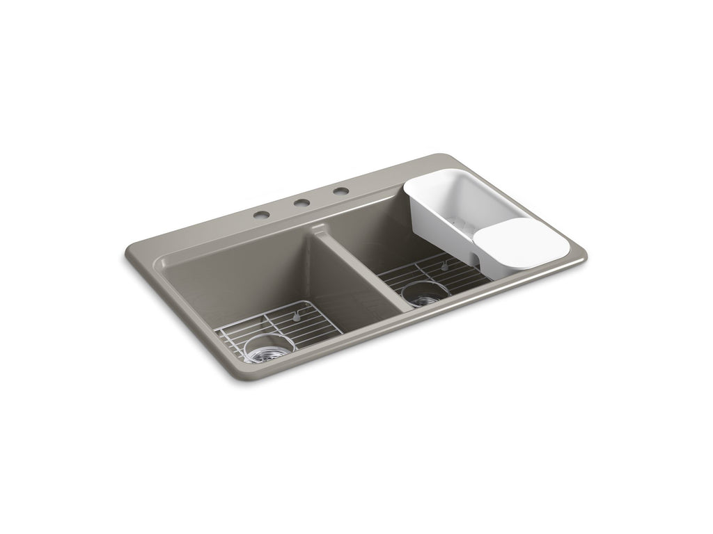 "Kitchen Sink | Riverby 33"" x 22"" x 9-5/8"" top-mount double-equal kitchen sink with accessories and 3 faucet holes 