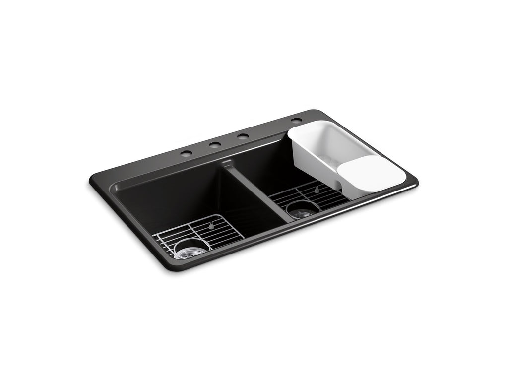 "Kitchen Sink | Riverby 33"" x 22"" x 9-5/8"" top-mount double-equal kitchen sink with accessories and 4 faucet holes 