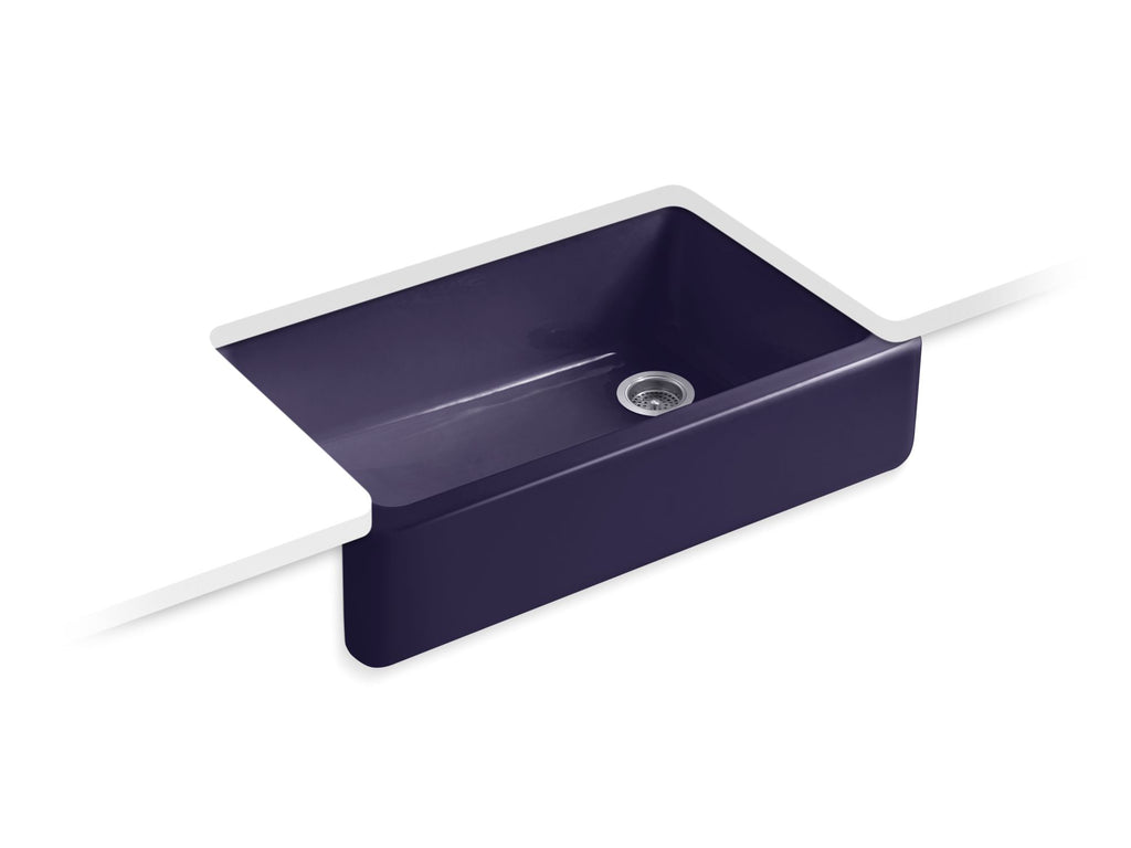 Kitchen Sink | Whitehaven(R) Self-Trimming(R) Apron Front Single Basin Sink with Tall Apron | Indigo Blue | GROF USA
