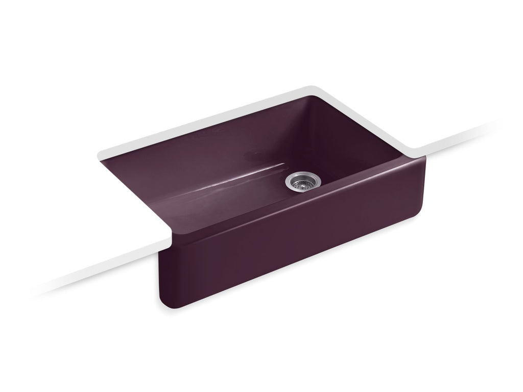 Kitchen Sink | Whitehaven(R) Self-Trimming(R) Apron Front Single Basin Sink with Tall Apron | Black Plum | GROF USA