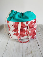 Load image into Gallery viewer, Teal & Rose Drawstring Project Bag (LG)