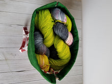 Load image into Gallery viewer, Dk. Green & Rose Drawstring Project Bag (Lg)