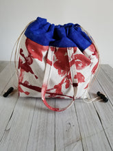 Load image into Gallery viewer, Blue & Rose Drawstring Project Bag (Lg)