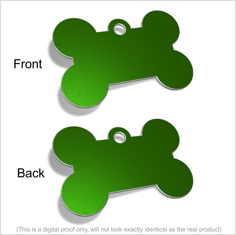 A TEST Designer Pet ID Tags (engraved both sides) Pet Tag Pet ID Tags GREEN LG BONE (37X38mm)
