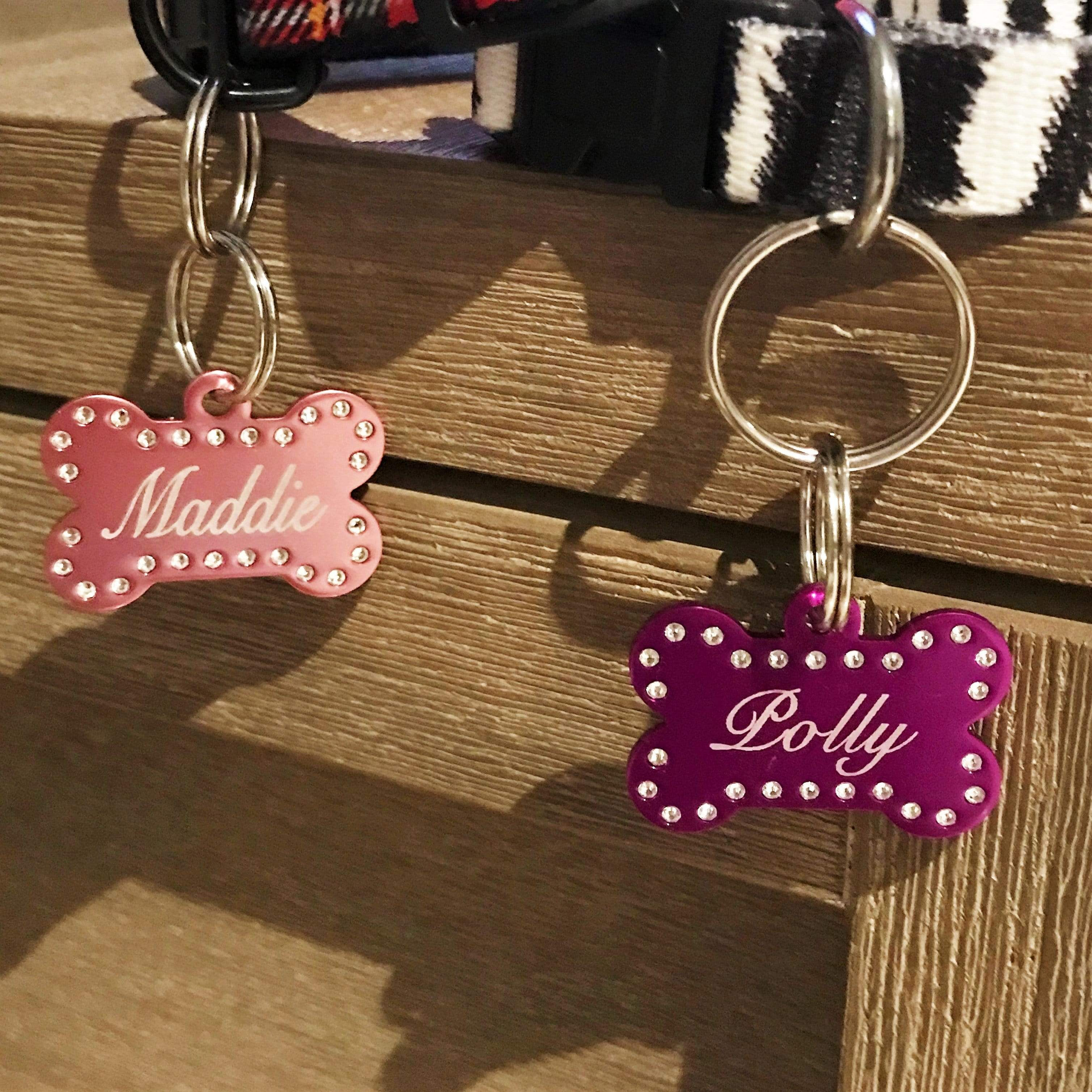 Comfort Dog Collar and Crystal Pet Tag Pet ID Tags