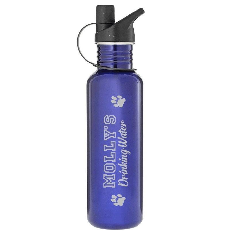 Personalised Dog Drink Water Bottle Pet ID Tags 740ml Blue