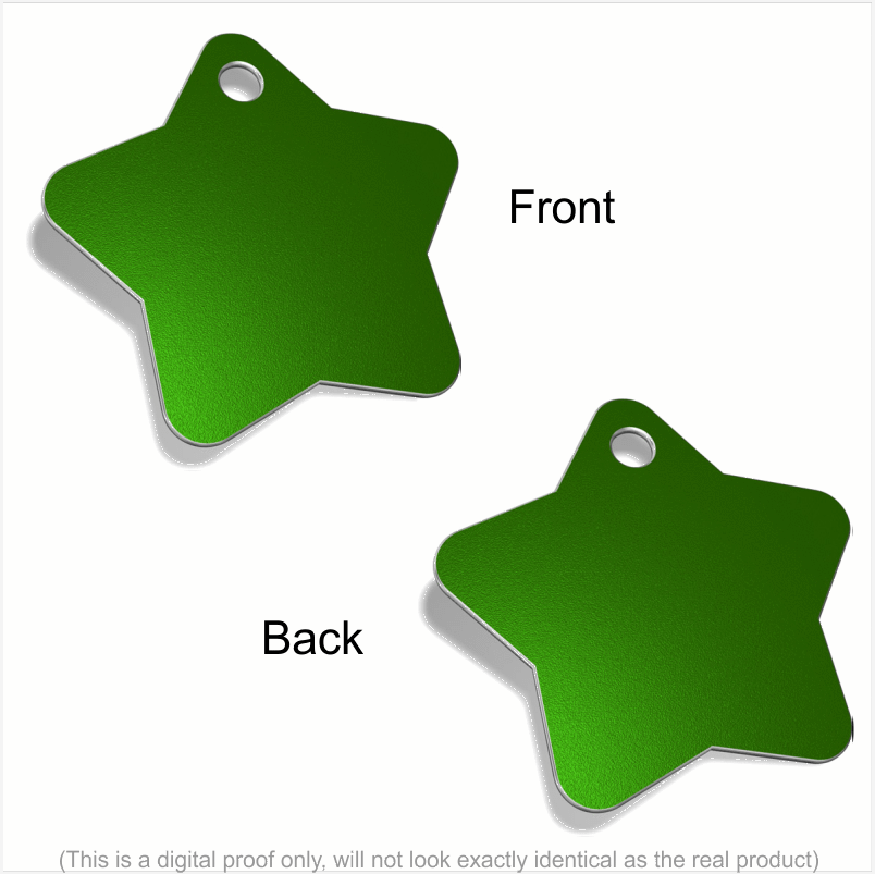 Star Designer Pet ID Tags Pet Tag Pet ID Tags Green