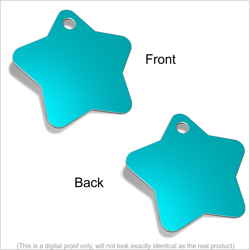 Star Designer Pet ID Tags Pet Tag Pet ID Tags Light Blue