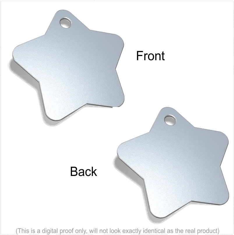 Star Designer Pet ID Tags Pet Tag Pet ID Tags Silver