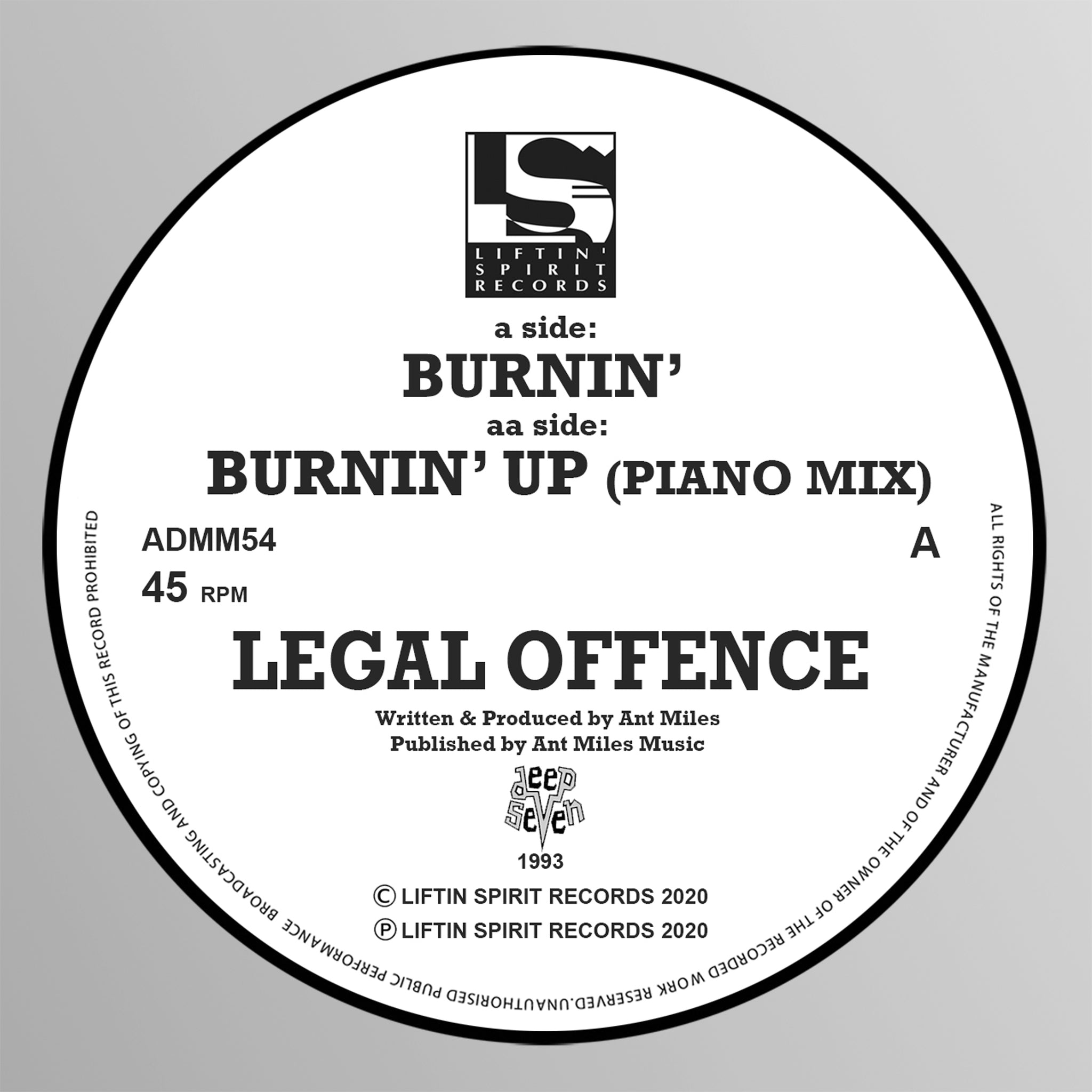 Legal Offence 'Burnin' / Burnin' Up' (1993) 12""