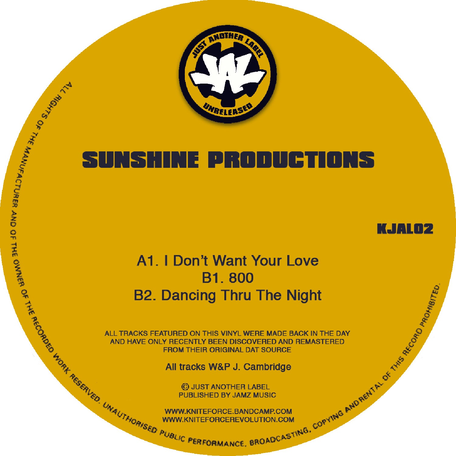 *PRE-ORDER* Sunshine Productions 'I Dont Want Your Love' EP 12""