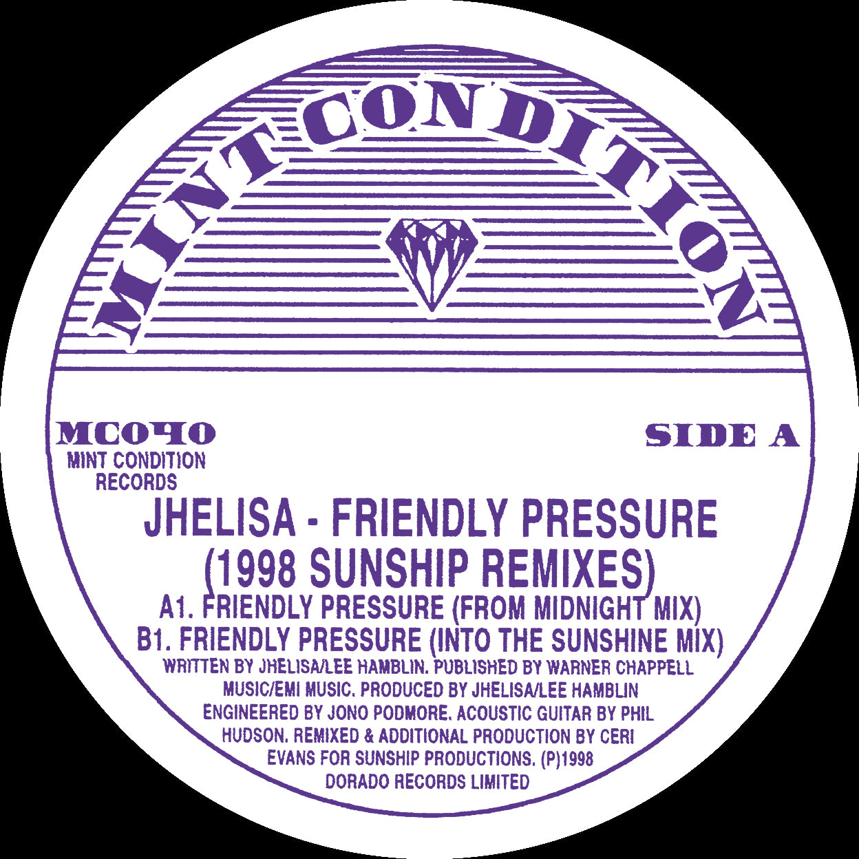 Jhelisa  'Friendly Pressure' (1998 Sunship Remixes) 12""