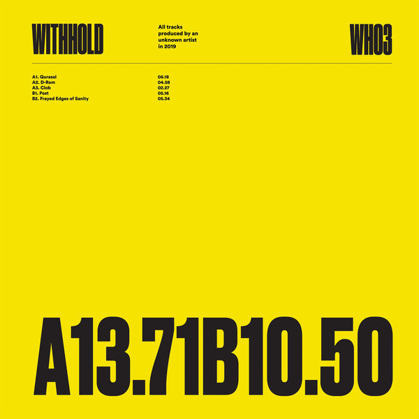 Unknown Artist 'WH03' 12""