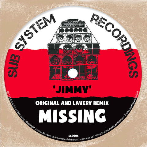 *PRE-ORDER* Missing 'Jimmy / Lavery's 93 Remix' 10""