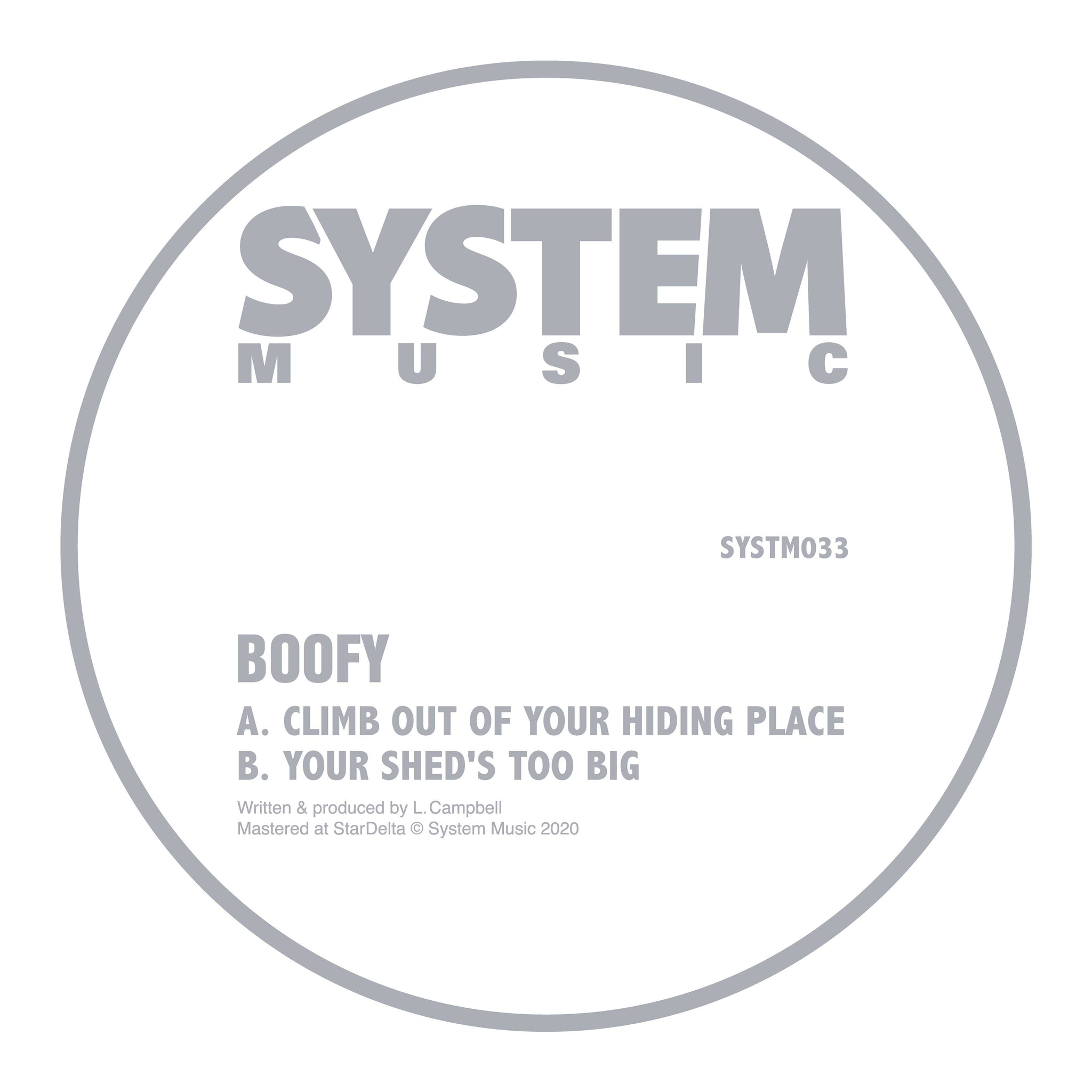 Boofy 'Climb Out Of Your Hiding Place / Your Sheds Too Big' 12""