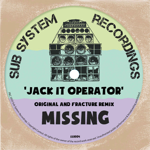 *PRE-ORDER* Missing 'Jack It Operator / Fracture's 'Jacket Operator' Remix' 10""