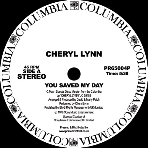 Cheryl Lynn 'You Saved My Day / Got to Be Real' 12""