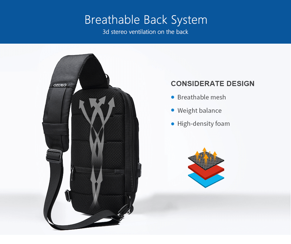 Anti theft bag breathable back