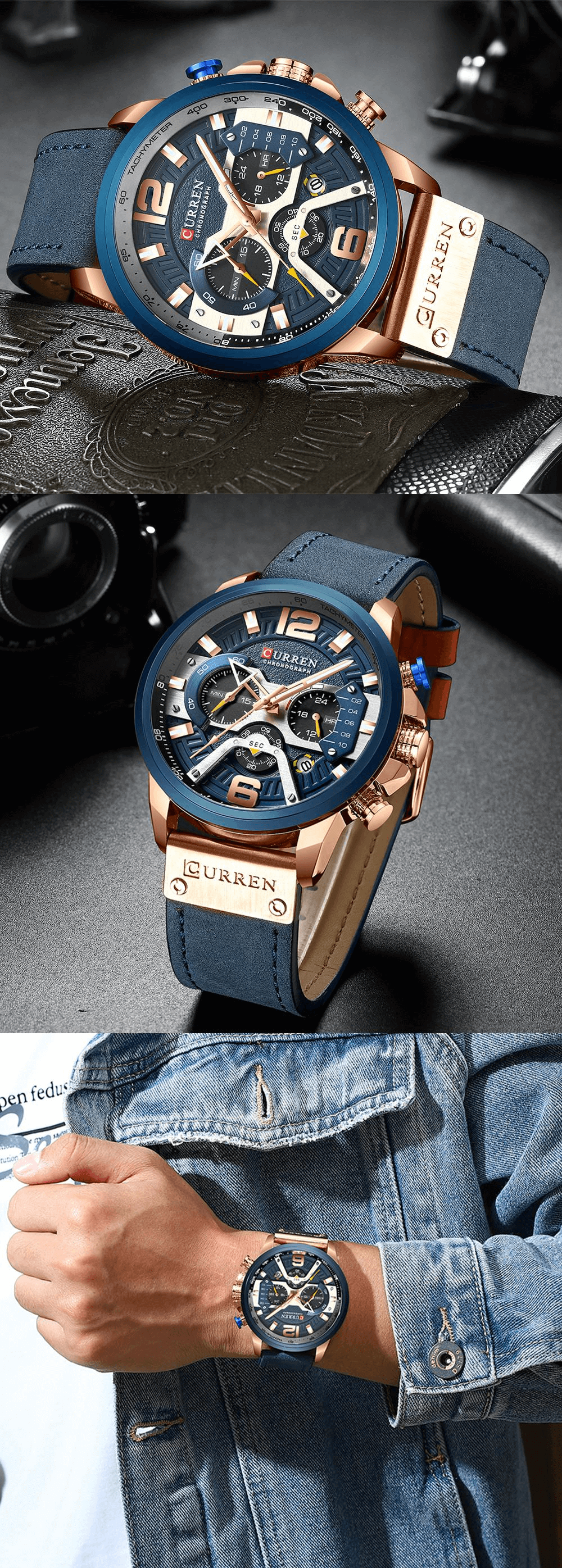 Curren watch rose gold blue