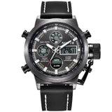 NORTH MILITARY LEATHER SPORT WATCH, LED DIGITAL ELECTRONIC