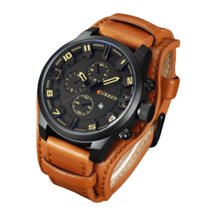 CURREN LEATHER LUXURY MILITARY WATCH FOR MEN
