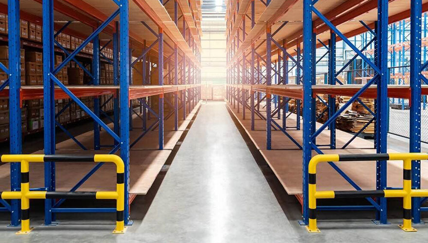 Barricades installed in a supplier or distributor warehouse to control traffic flow