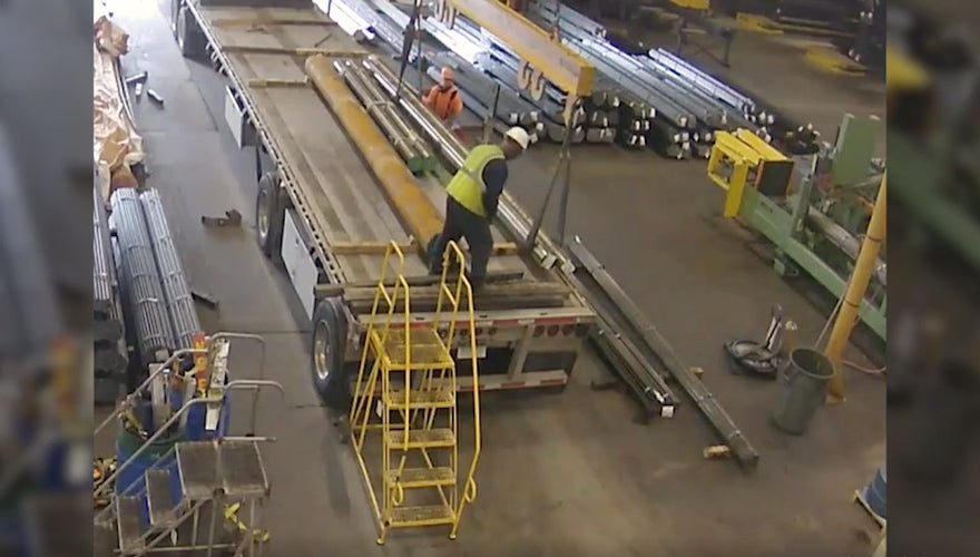 A flatbed truck: Example of a common raised work surface in a warehouse