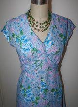 Load image into Gallery viewer, New Dress 70s does 40s Style Crepe, Vintage Fabric In Blue Purple Green Floral Cap Sleeve, w33