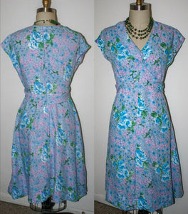 New Dress 70s does 40s Style Crepe, Vintage Fabric In Blue Purple Green Floral Cap Sleeve, w33