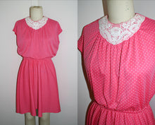 Load image into Gallery viewer, Vintage 1970s 1980s Dress Pink White Polkadot, Volup, Cap Sleeve, Skater Skirt, Plus Size XL Extra Large to 2XL XXL