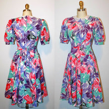 Load image into Gallery viewer, 1980s 80s Does 50s 1950s Dress Full Skirt Short Puff Sleeves V Waist Circle Skirt Fan Print Multi Color Peter Pan Collar waist 29