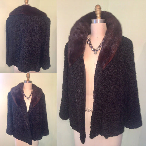 1950s 60s Black Astrakhan Persian Lamb Real Fur Coat 3/4 Sleeves, Brown Mink Collar, Pockets Short Clutch Jacket 1960s 50s Size M to L Large