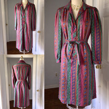 Load image into Gallery viewer, 1980s 1970s Paisley Shirtwaist Secretary Dress striped Burgundy Blue Green Long Sleeve Tie Sash 80s 70s Plus Size Large XL