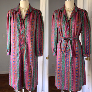 1980s 1970s Paisley Shirtwaist Secretary Dress striped Burgundy Blue Green Long Sleeve Tie Sash 80s 70s Plus Size Large XL