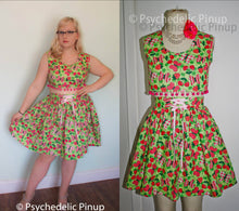 Load image into Gallery viewer, New OOAK Pinup Style Top & Skirt Set, Sexy Cherries Butterfly Print, Crop Top Skirt  2pc Dress High Waist Pom Pom Green Pink, Size M L Large
