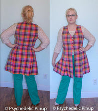 Load image into Gallery viewer, 60s 70s Plus Size Vest Tunic Jumper Overdress Purple Plaid Button Front Mod Mini Shift 1960s 1970s w36