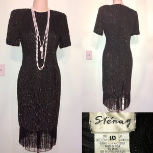 20s Style Dress Black Sequin Fringe- STENAY- Gatsby 80s does 1920s Flapper Party- Silk Sparkly Glam Short Sleeves Size 10 w31