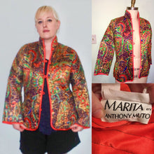 Load image into Gallery viewer, Groovy 60s 70s designer- Marita by ANTHONY MUTO- paisley velvet Nehru Jacket Orange Size Large 10