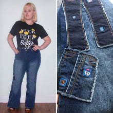 Load image into Gallery viewer, 90s Neeso Jeans Bellbottom Flares Dark Stretch Denim High Waist 90s does 70s Novelty Jeans on jeans Size 14