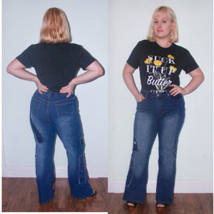 90s Neeso Jeans Bellbottom Flares Dark Stretch Denim High Waist 90s does 70s Novelty Jeans on jeans Size 14