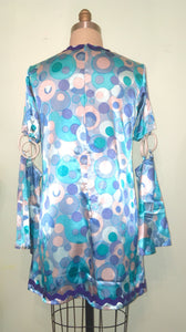 Gogo Disco Dress Halloween Party Costume Blue Dot Satin Bell Sleeve Blue Rick Tack size Medium M