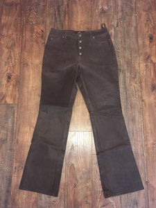 Brown Real Leather Pants Festival Rocker Bootcut Flared Jeans Button fly 90s does 60s 70s size boho Hippie Woodstock Size 8 waist 30