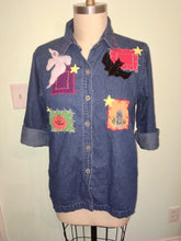 Load image into Gallery viewer, 90s Denim Shirt Top Halloween Blouse Theme Teacher Ghost Pumpkin Bat Tombstone Frizzle Magic School Bus Oversized Baggy Plus size large