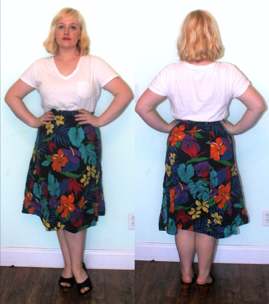 1980s Skirt high waist Rayon Paper Bag Waist Elastic size M Medium Vacation Hibiscus Floral Black